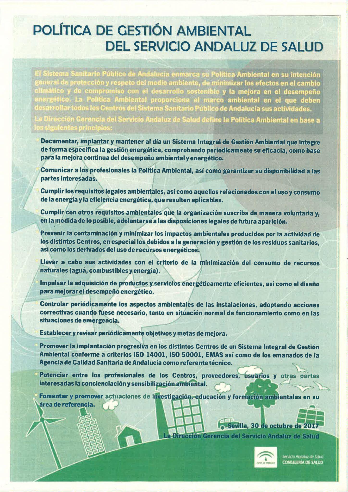 POLITICA DE GESTION AMBIENTAL SERVICIO ANDALUZ DE SALUD